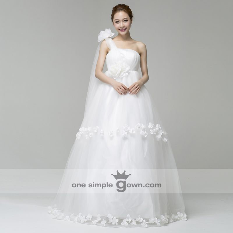 Superb Plus Size One Shoulder Side Draping Appliques Floor Length Ball Gown Wedding Dress