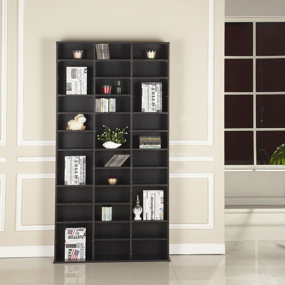 Media storage unit shelves bookcase black colour living room bedroom