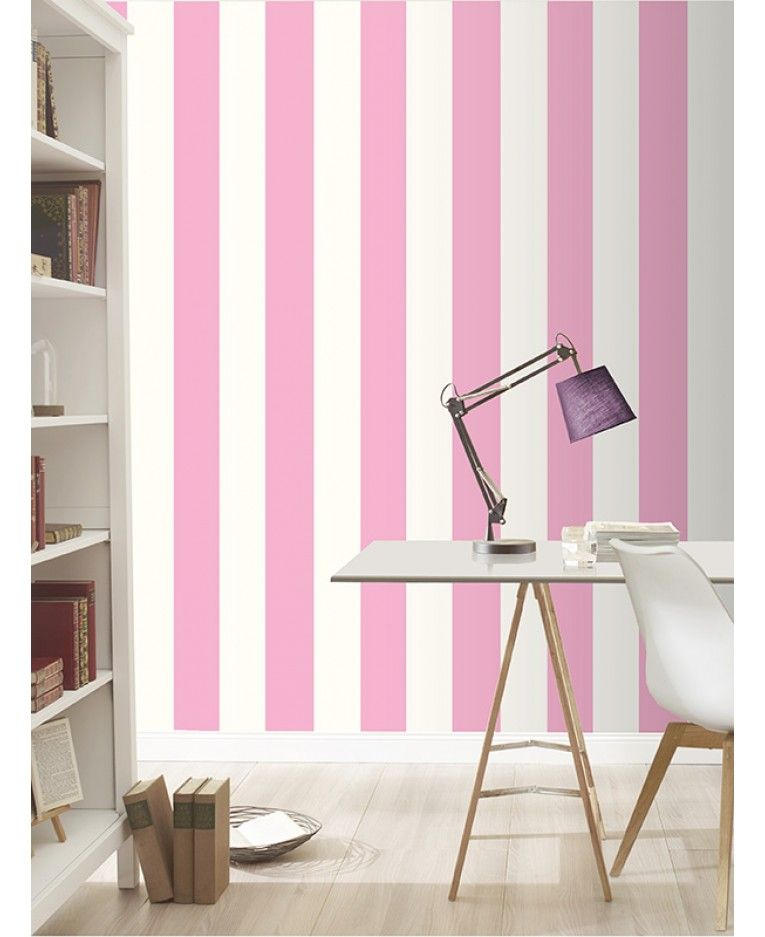 Stripe Wallpaper Pink and White Rasch 286908 | Striped wallpaper and ...