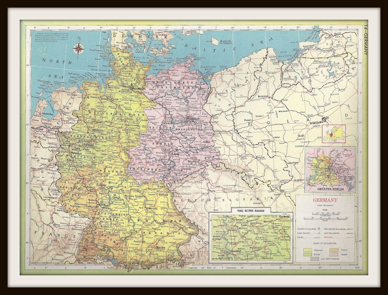 Vintage atlas map 2 1952 occupied post world war 2 germany vintage atlas map 2 1952 occupied post world war 2 germany gumiabroncs