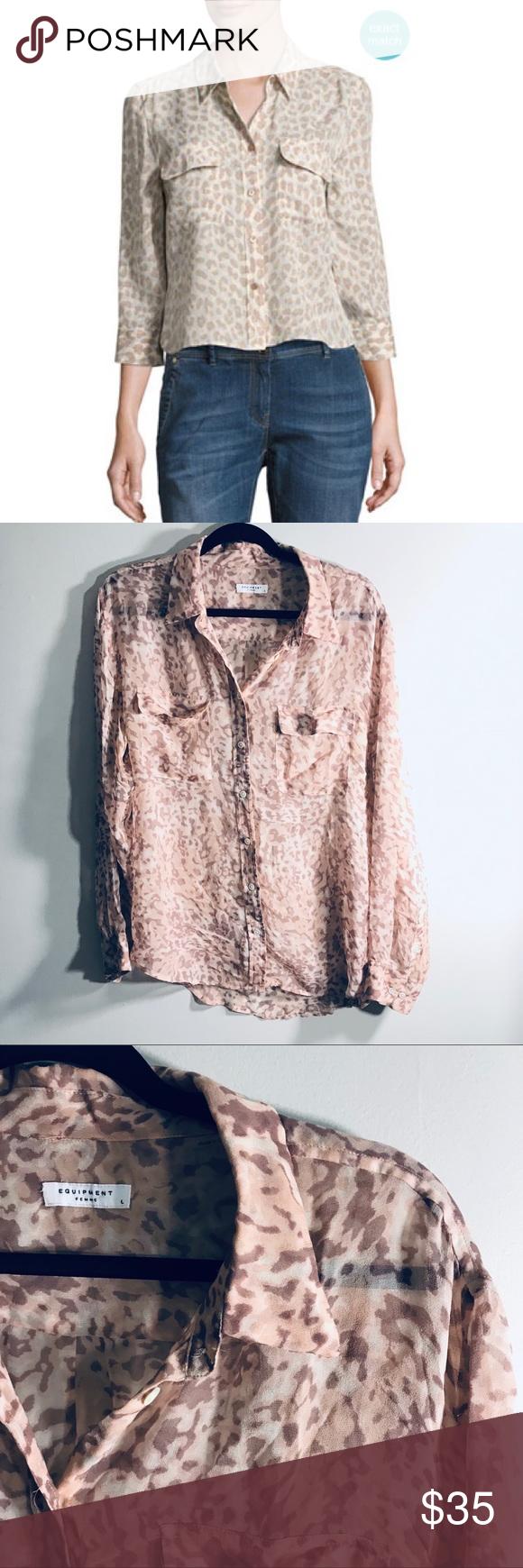 Animal print silk blouse in my posh closet pinterest