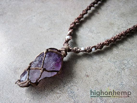 Raw amethyst necklace boho jewelry crystal necklace february a healing crystal you can bring with you everywhere this hemp necklace was made with aloadofball Images
