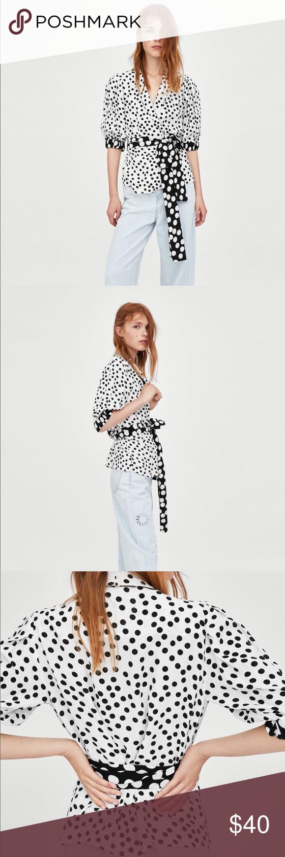 f2d3e475 NWT Zara polka dot blouse NWT Zara polka Dot Wrap top. Size S. Zara Tops  Blouses