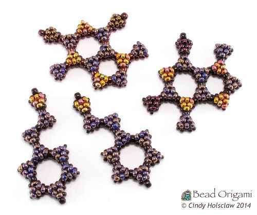 Bead Origami: New Pattern: Chocolate and Raspberry Molecules