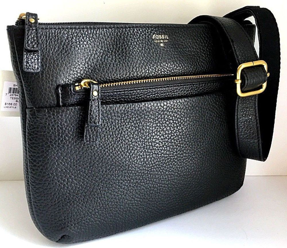 4995e1a89c4c FOSSIL TESSA Crossbody Shoulder Bag Black Leather SHB1939001 11