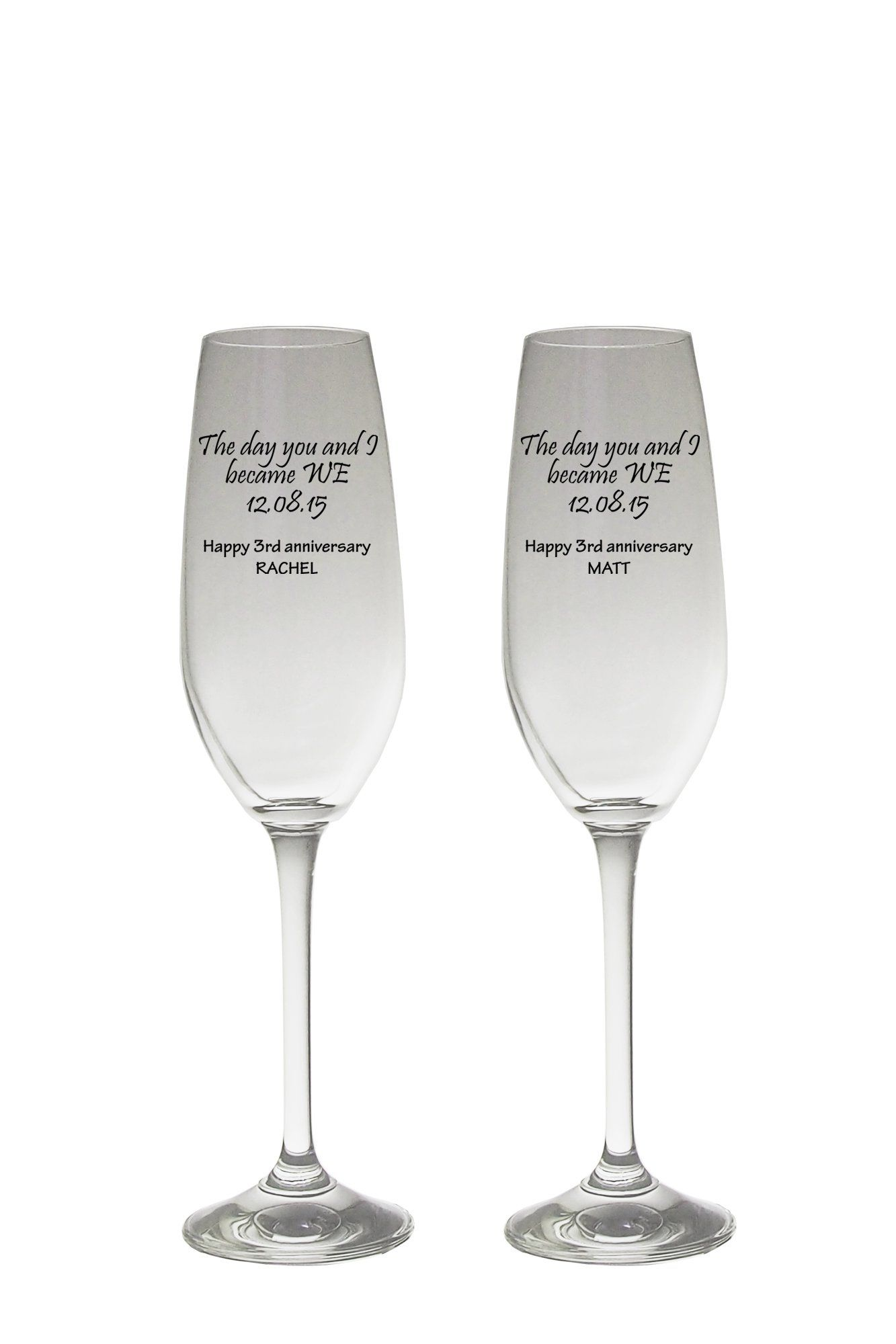 Valentine's Day Personalised Champagne Flutes