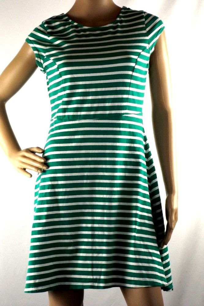 6630fc47d20413 Old Navy Dress Green White Striped Cap Sleeve Flare Jersey Knit Knee Length   OldNavy  FitFlareJersey  Casual