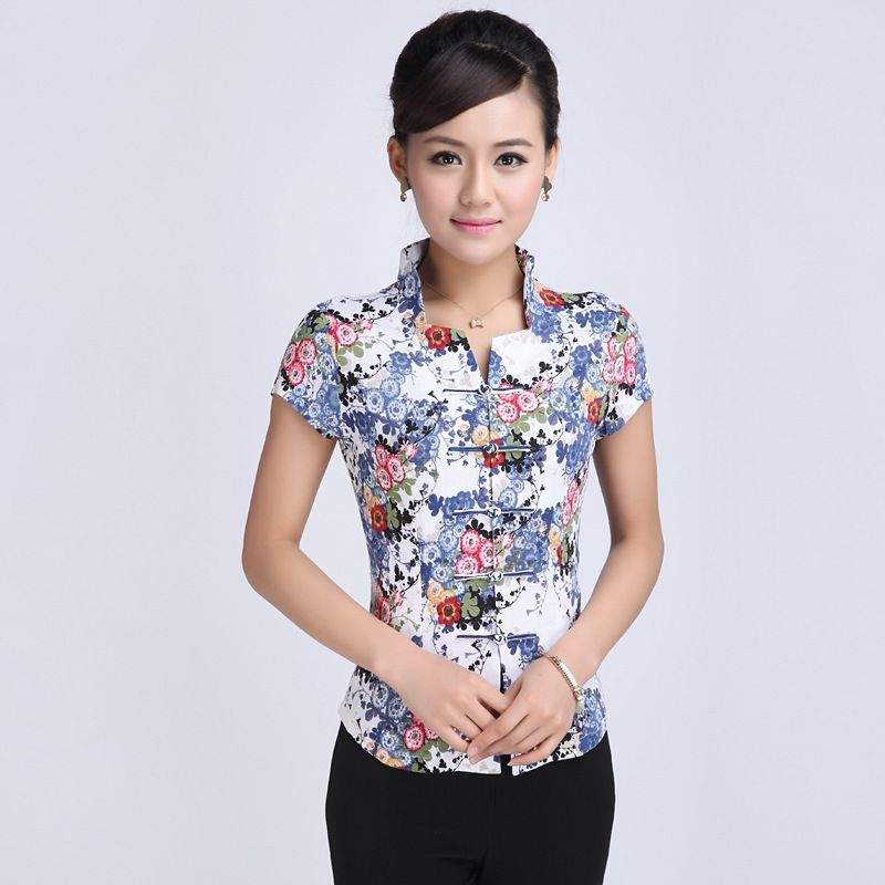 High Quality Summer Linen Chinese Style Women Tang Suit Tops Blouse Vintage Traditional Chinese Shirt L XL XXL XXXL 4XL 5XL T27