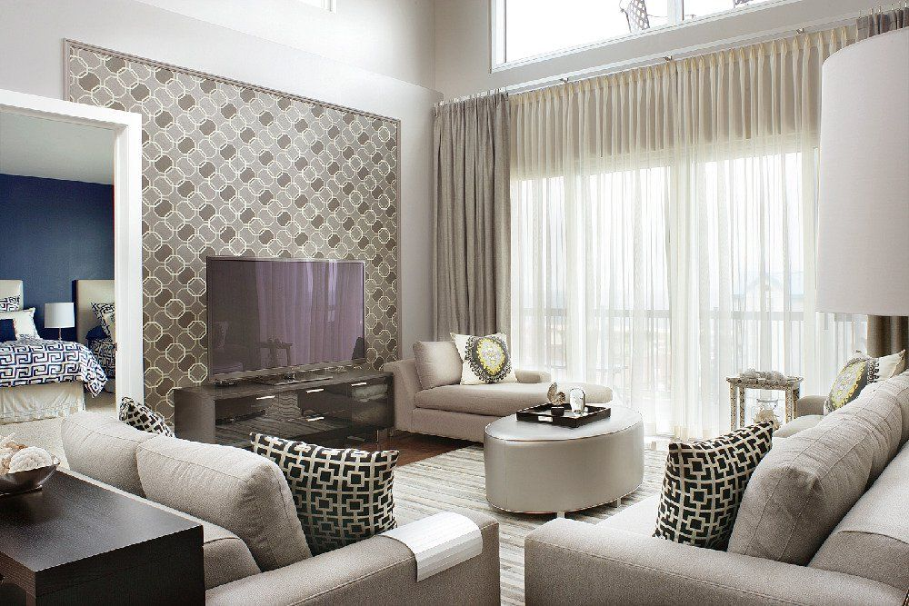 Living Room : Simple Green Wallpaper Accent Wall For ...