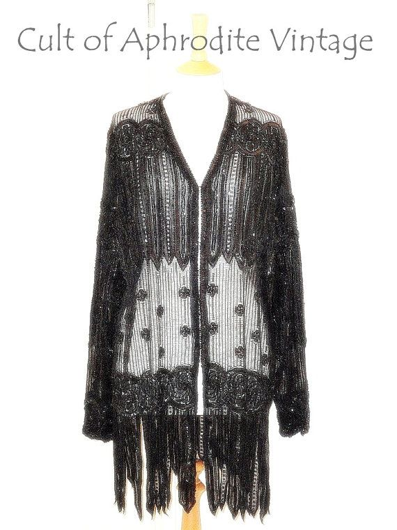 Vintage 70s Sheer Beaded Sequin Zigzag FRINGE by CultofAphrodite, $200.99