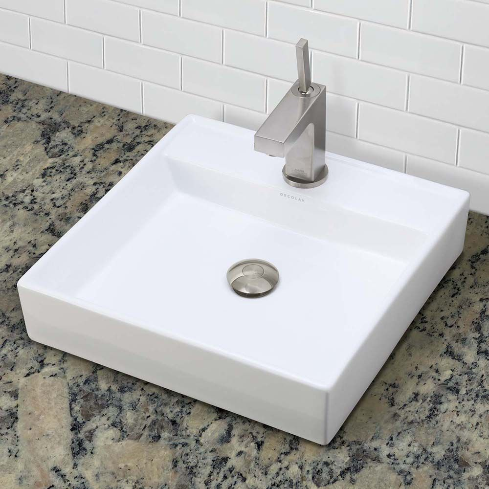 Decolav S Classically Redefined 1464 Cwh Square Above Counter Lavatory Packs A Punch With Its Design Aesthetic C Guess Bathroom Lavatory Bathroom Sink Vanity