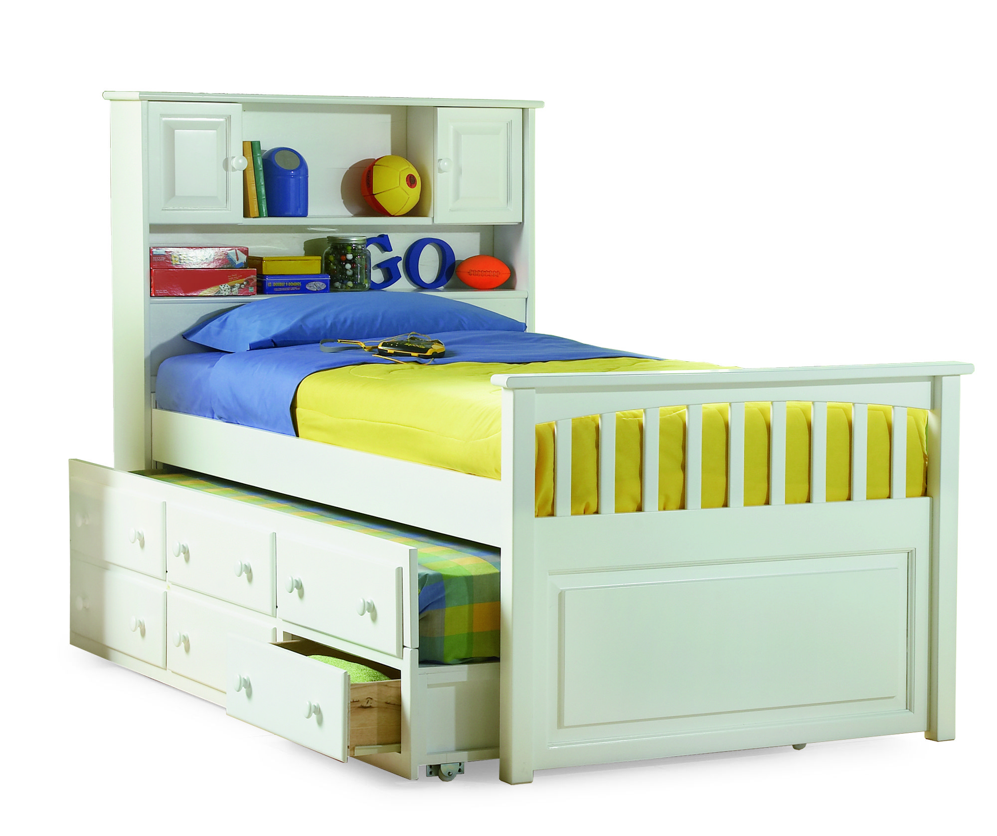 Twin Hardwood Captain's Trundle Bed (White) Atlantic