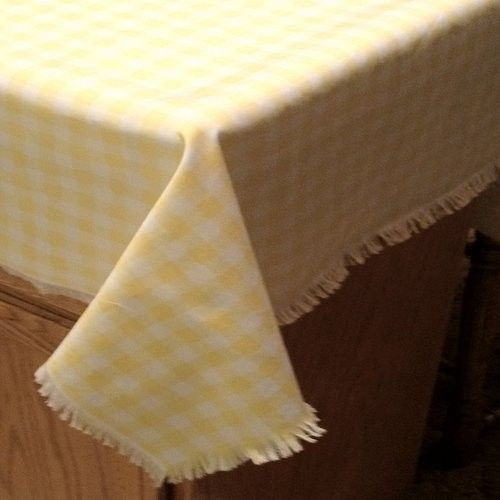 Yellow Checkered Tablecloth | Yellow Gingham Like Check Tablecloth  Handfringed Handmade Large 53x100 .