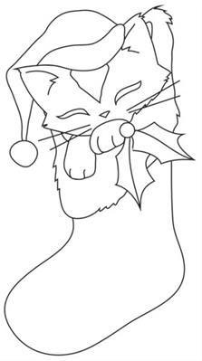 Feline Festive Outlines - Kitty Stocking_image   Christmas ...