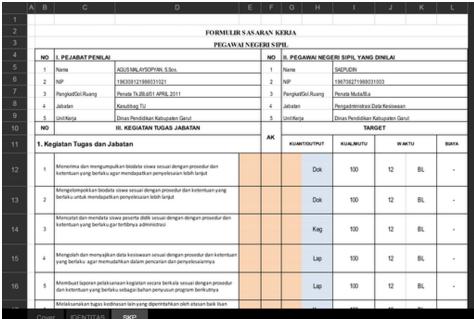 Operator Sekolah Referensi Operator Sekolah Instrumen Sasaran Kinerja Pegawai Skp Tata Usaha Menggunakan Aplikasi Format M Microsoft Excel Microsoft Excel