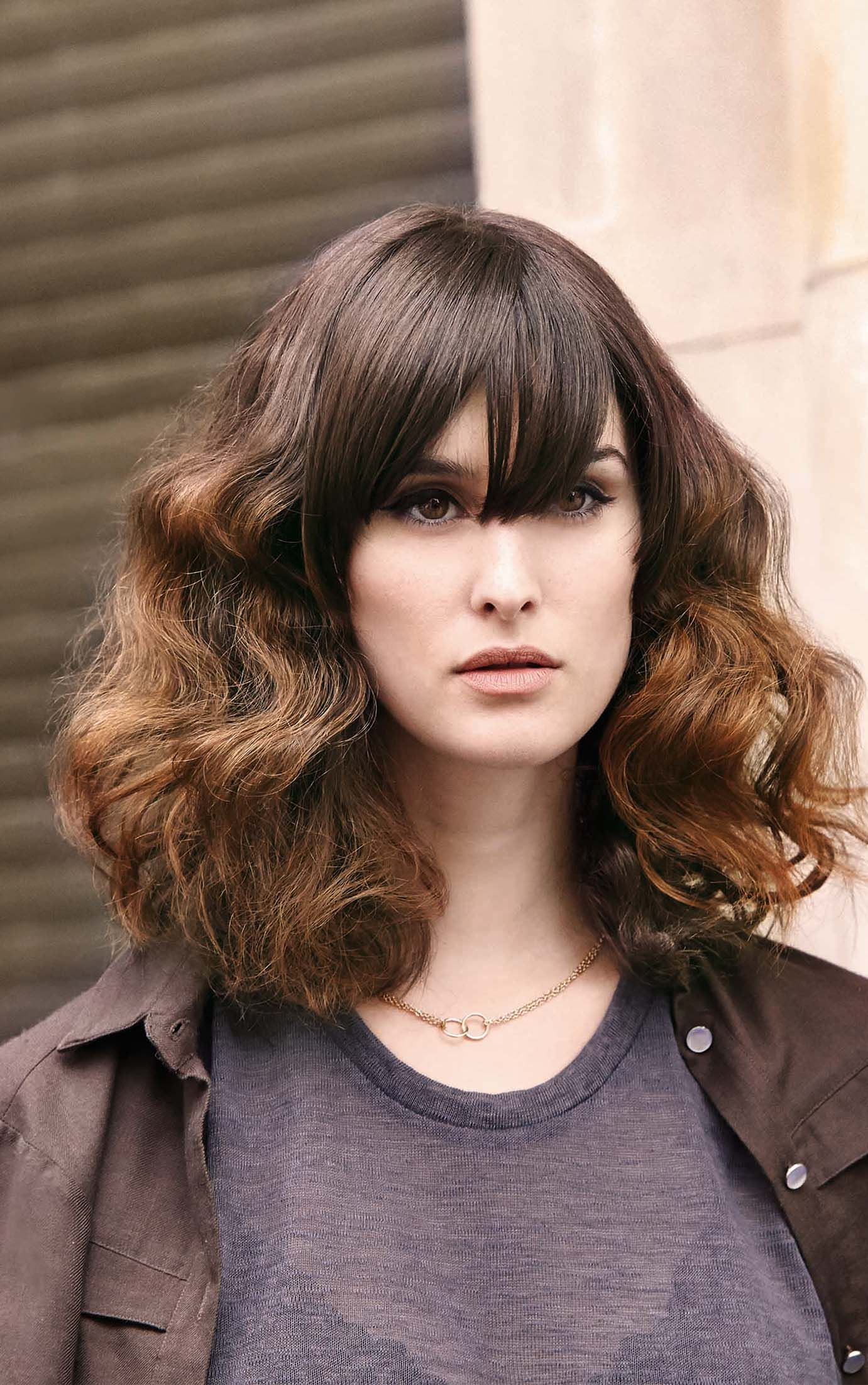 pliment textured curls and a smooth fringe look this summer with
