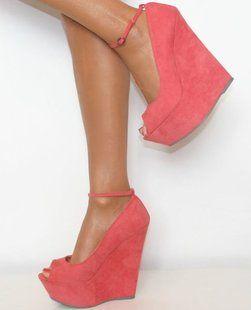 coral peep-toe wedges