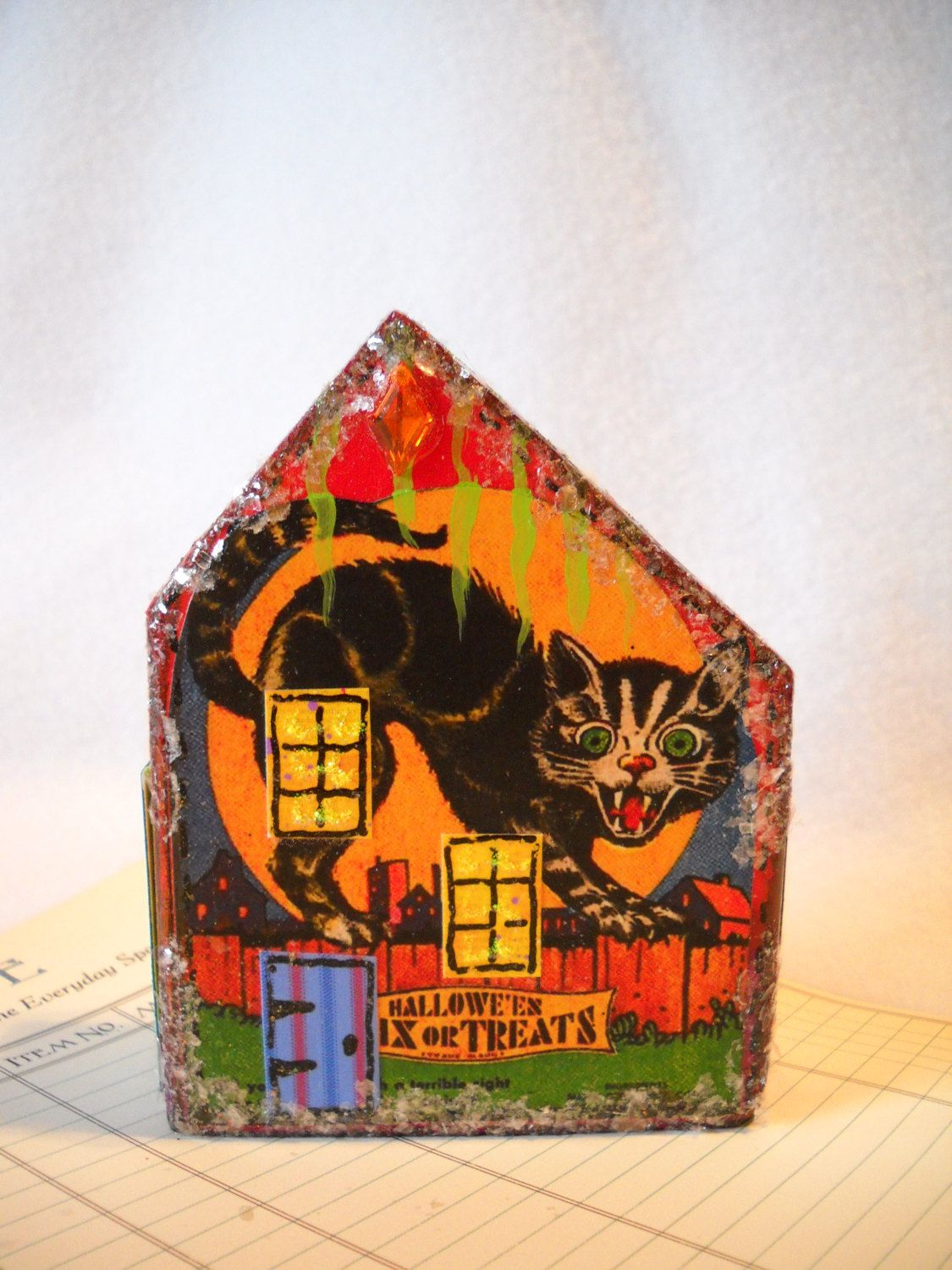 Halloween decoration Putz glitter house wooden block house vintage - Halloween House Decoration