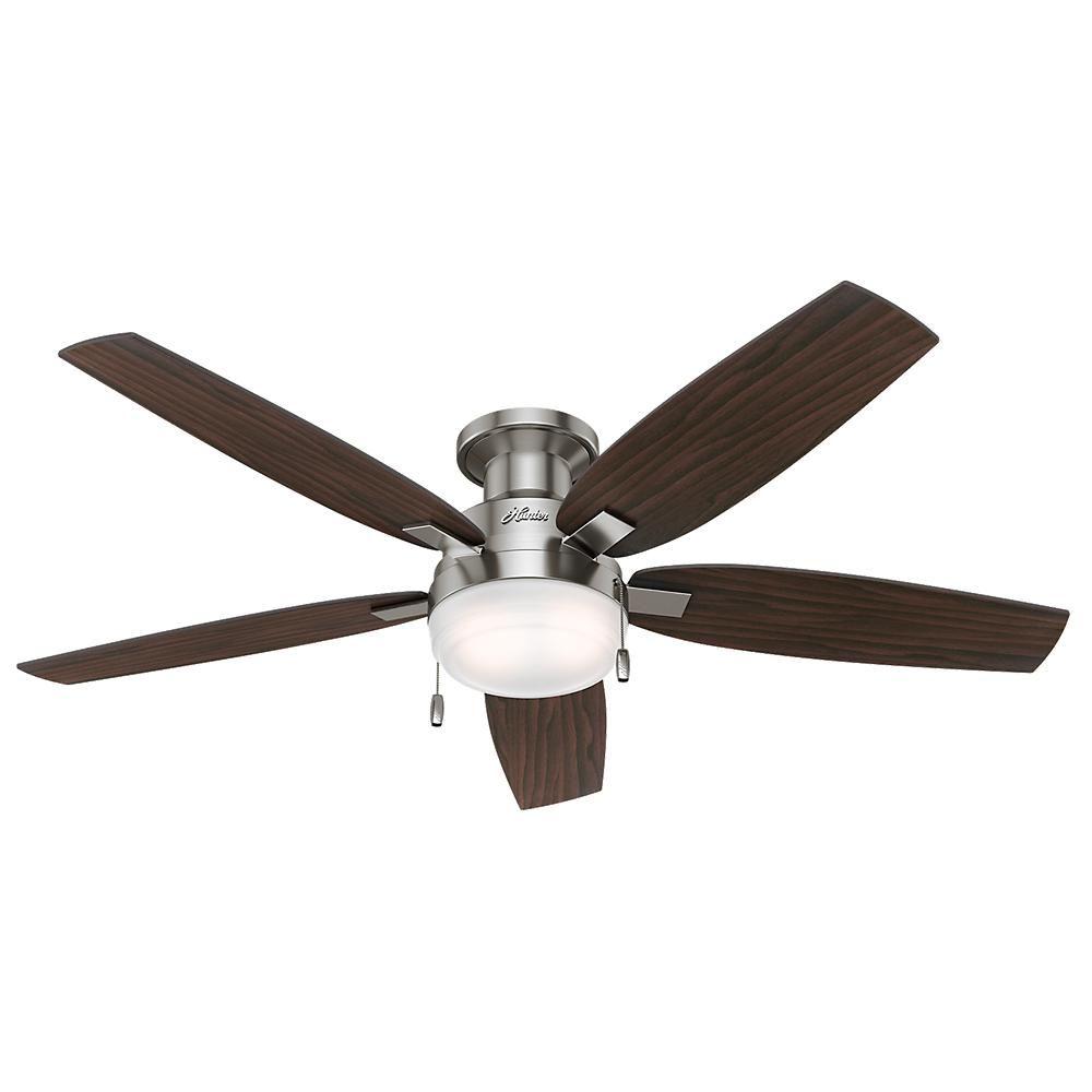Hunter duncan in led indoor brushed nickel ceiling fan ceiling