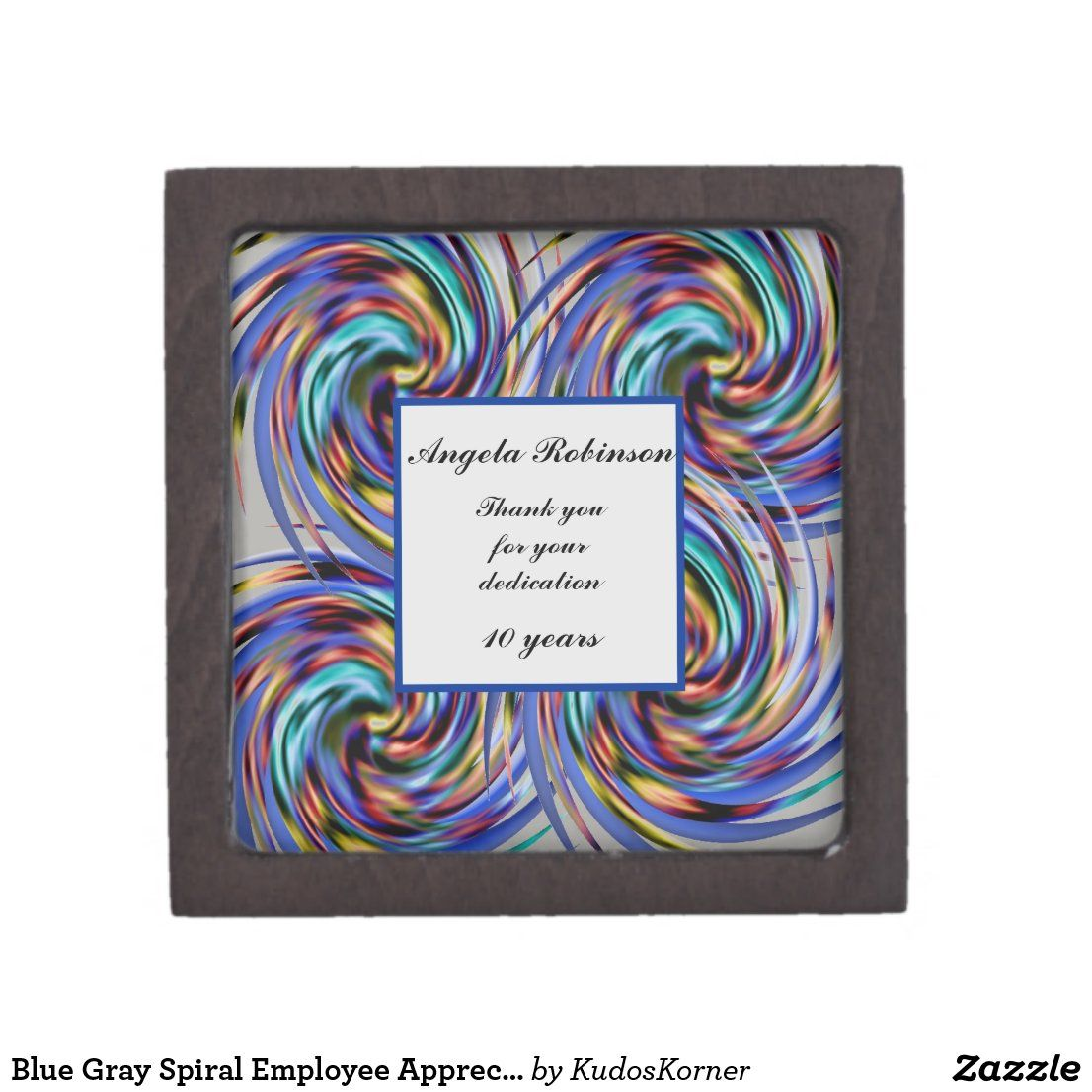 Blue Gray Spiral Employee Appreciation Recognition Gift Box | Zazzle.com
