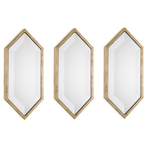 Seren Modern Petite Gold Diamond Wall Mirror - Set of 3 | Kathy Kuo Home