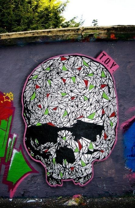 T.O.Y. #streetart #art #street #graffiti #skull #InkedMagazine