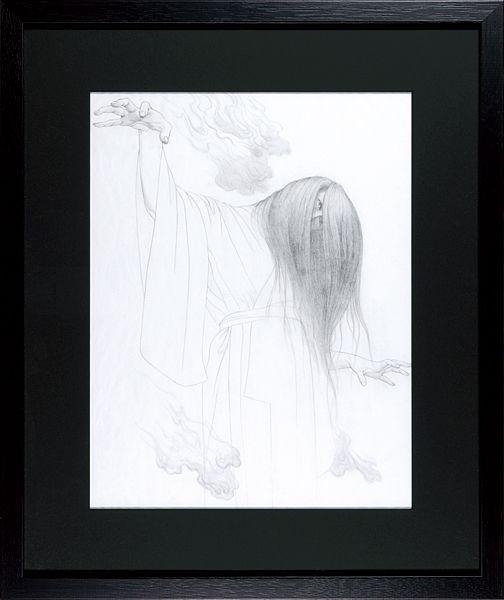 Drawing by Tenmyoya Hisashi / 自筆画稿 幽霊図(下図)天明屋尚