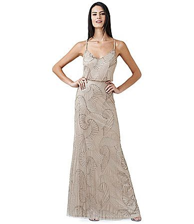 Adrianna Papell Seashell Beaded Blouson Gown Dillards 204
