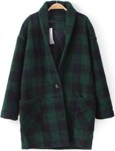 Abrigo de lana cuadros manga larga-verde 49.58
