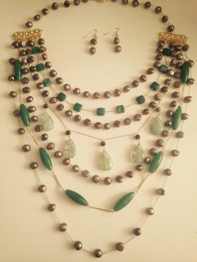 e2479214237a Collar perlas de rio y piedras nsturales verdes