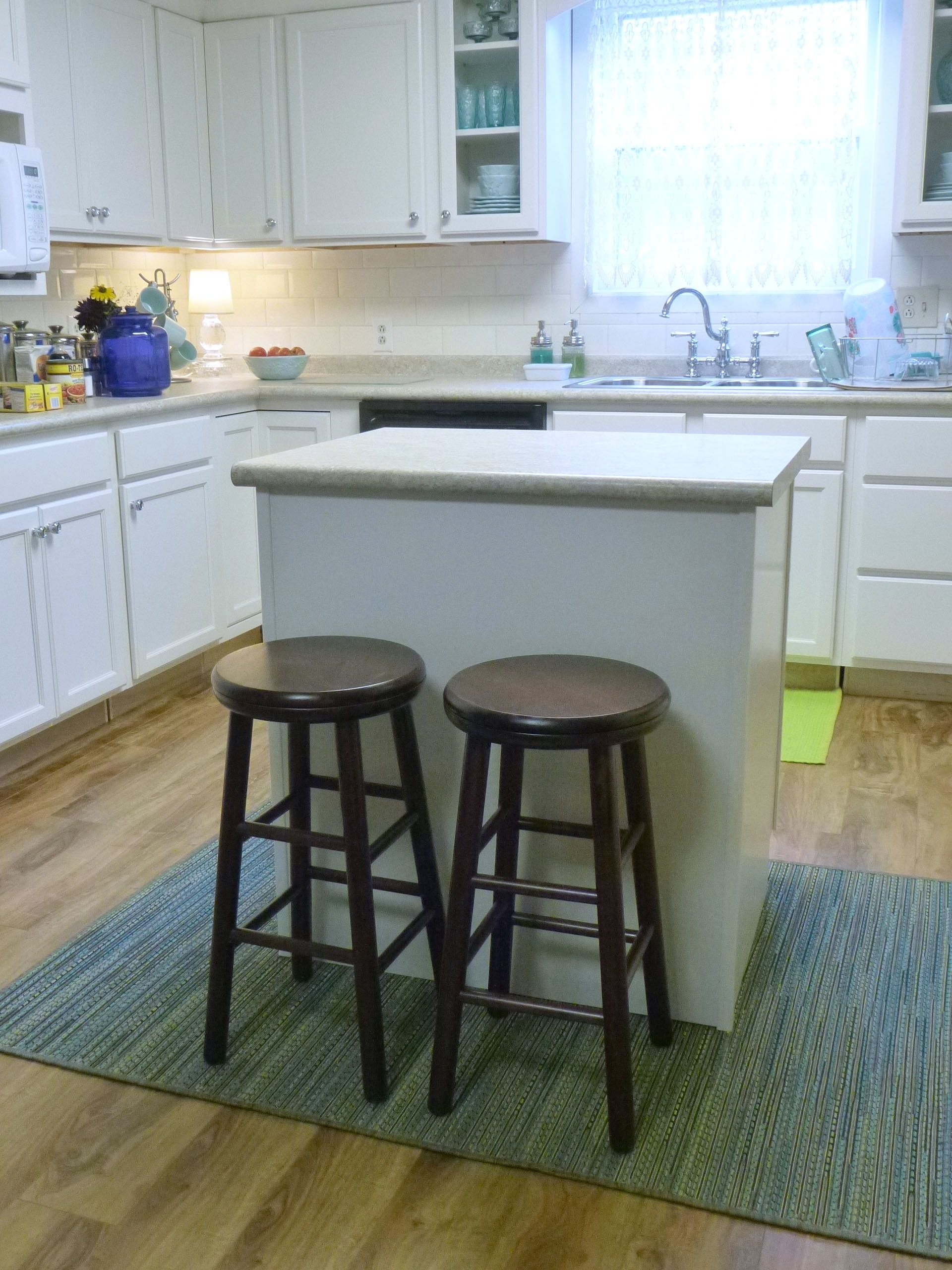 Set of two 24-inch counter height stools, espresso finish, tops ...