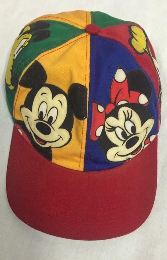 new arrivals 5e922 1e762 Vintage Mickey Mouse Hat Minnie Goofy Pluto Multi Color Adjustable Disney  Cap   eBay