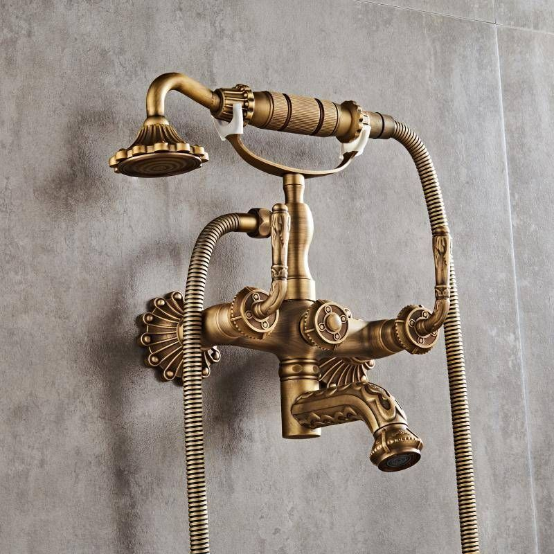 Luxury Antique Brass Bathroom Faucet Mixer Tap Wall Mounted Hand Held Shower Head Kit Shower Faucet Sets Xt334 In 2020 Brass Bathroom Antique Brass Bathroom Faucet Brass Bathroom Fixtures