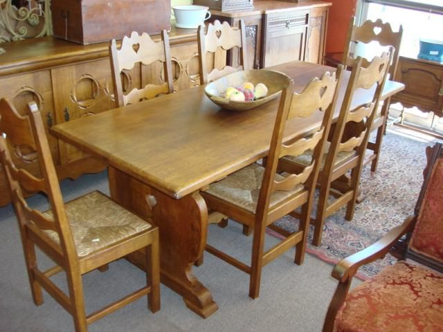 7 Piece Rustic Mission Style Dining Set Table And 6 Chairs