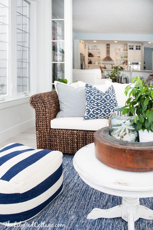 Lake house blue and white sunroom by the lilypad cottage love the floor cushion