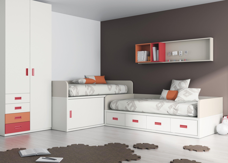 Dormitorio juvenil con camas en escuadra | Bedroom | Pinterest ...