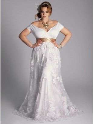 Eugenia Vintage Plus Size Wedding Gown by IGIGI - with the gold belt