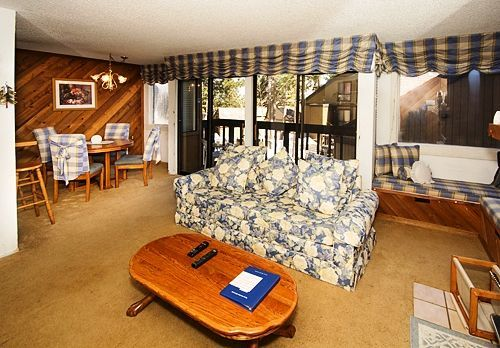 Where To Stay: this downstairs, one bedroom condominium is very nice with some view of trees and mountains of Mammoth Lakes.