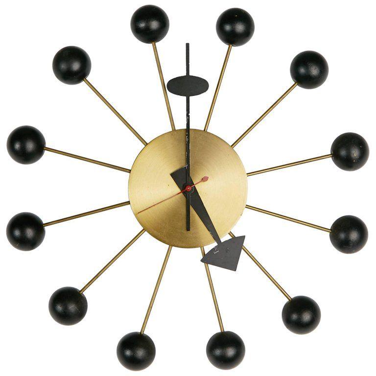 George Nelson Black Ball Clock For Howard Miller Circa 1950 Clock Modern Clock Vintage Clock