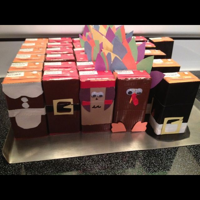 Thanksgiving Kids Table Project Decoration Duct Tape Juice Boxes