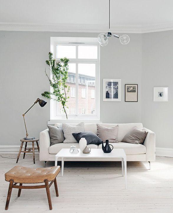 Grey Walls Cream Couch White Trim By Rowena Scandinavian