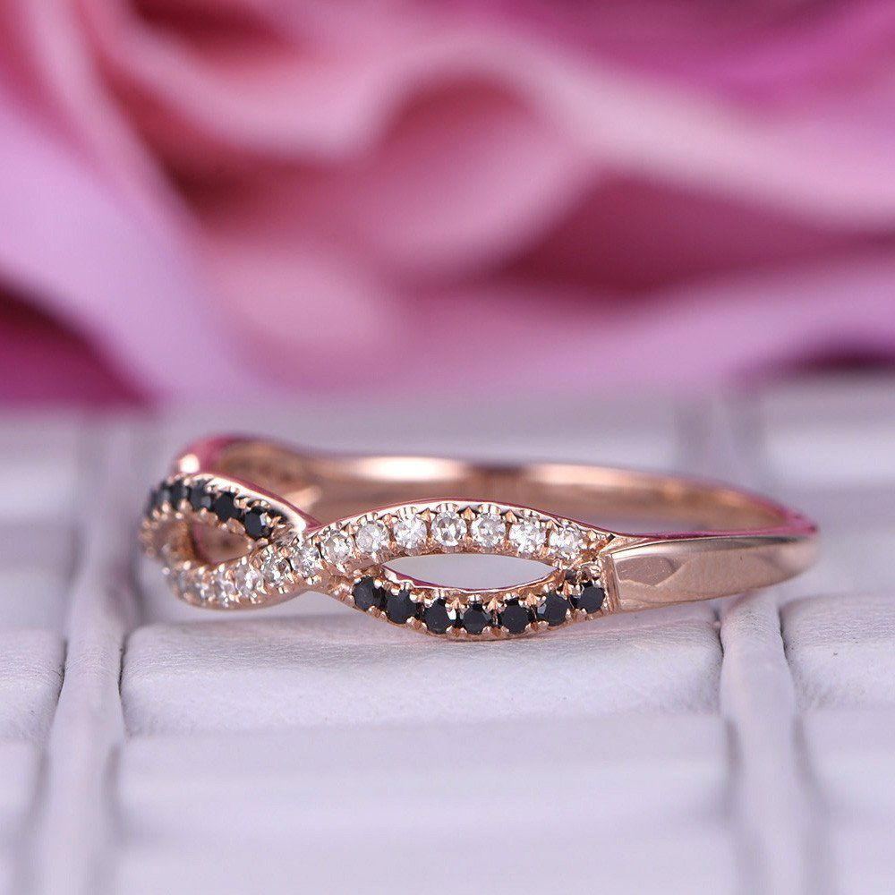 Clear Diamond and Black Diamond Wedding Band Half Eternity ...