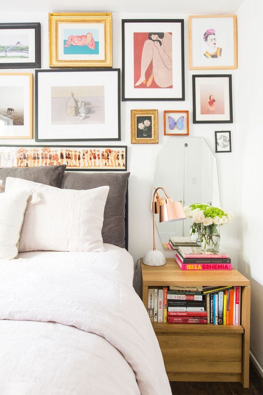 Master bedroom gallery wall  How This CEO Redesigned Her Fab LA Bungalow in One Week  Bungalow