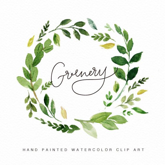 Watercolor Flower Wreath Clipart Greenery Hand Painted Wedding Design