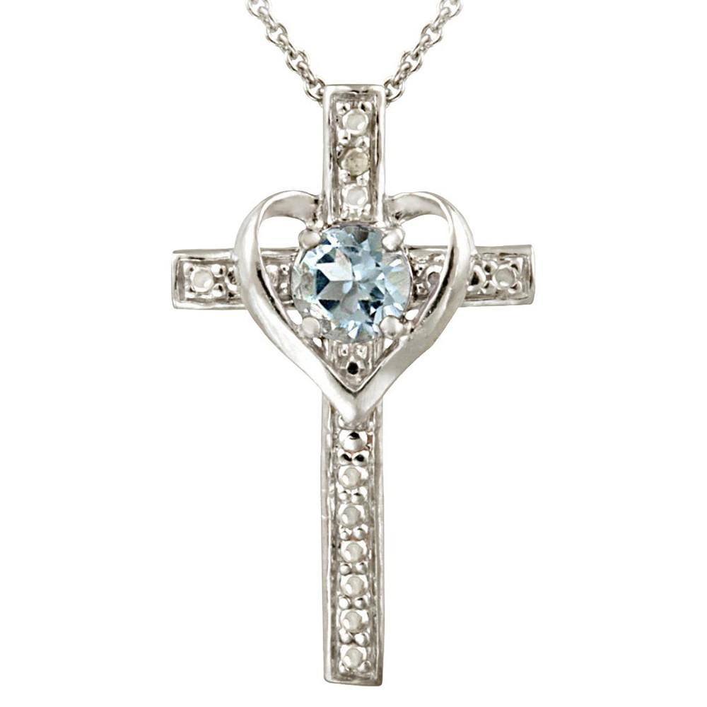 a3ce83e139a30 Sterling Silver Diamond Accent Blue Topaz Heart- Cross Necklace ...