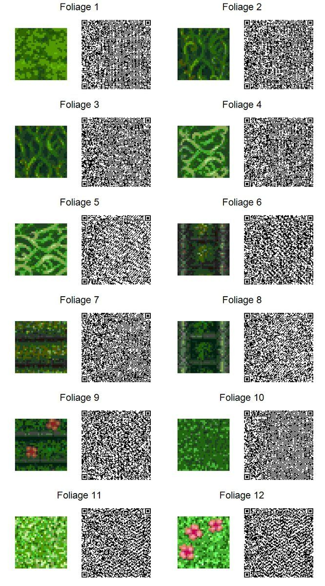 Acnl Qr Code Foliage If Too Small Use Download Link At Right Of The Page For Full Resolution Animal Crossing Pinterest Animal Crossing Animal Cross