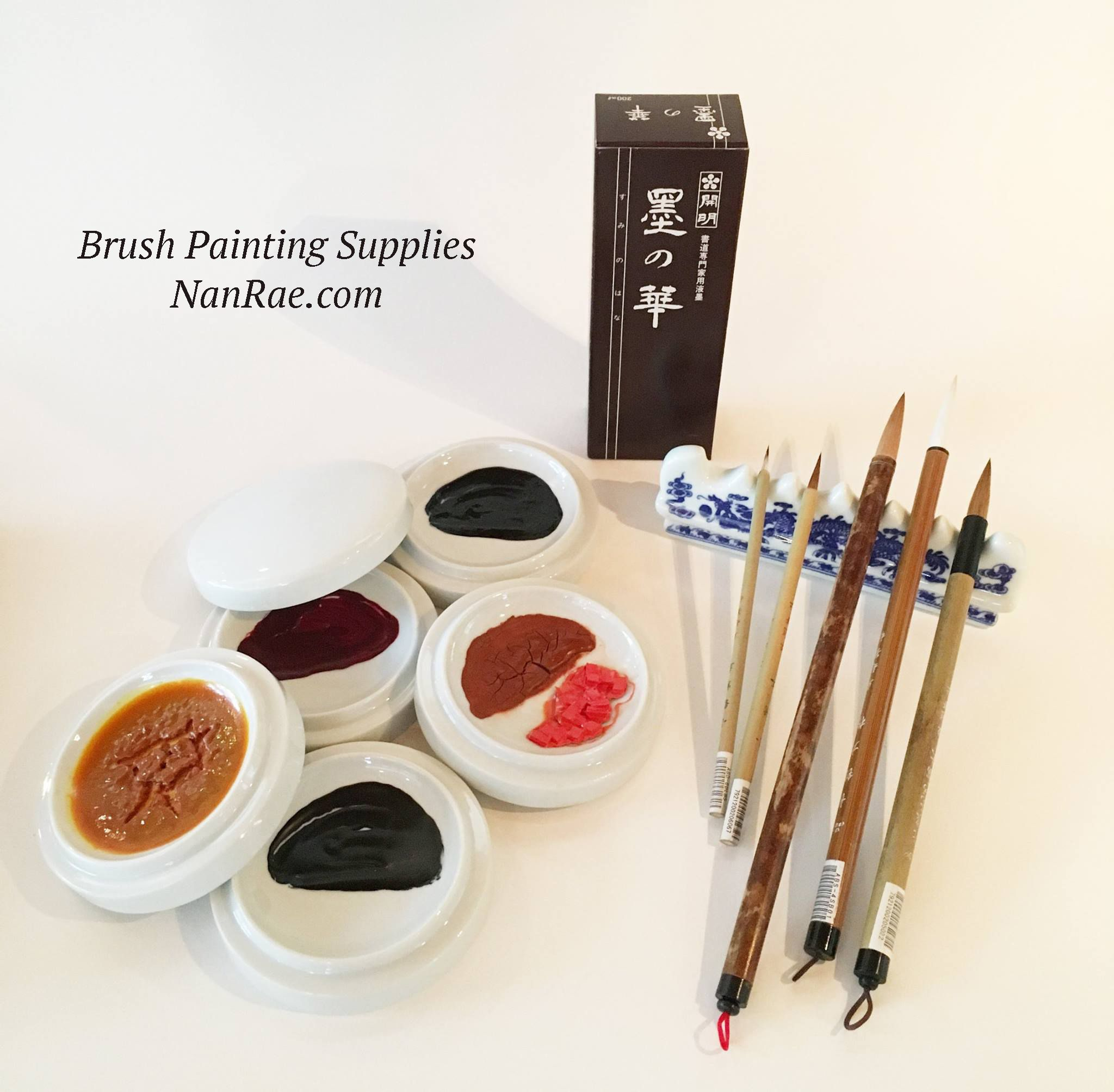 Brush Painting Supplies Dish Set 5 Basic Brush Set And Ink