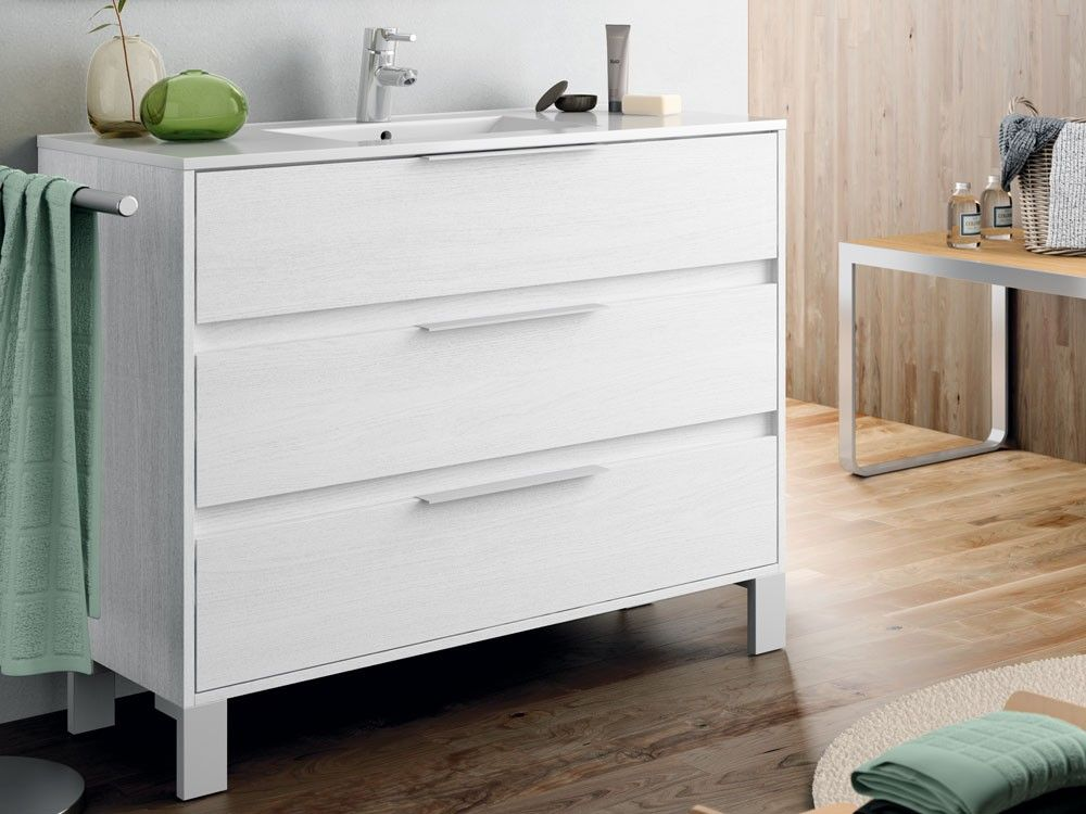 White Wood Grain Iris 1000 Cabinet & Basin | CTM (With ...
