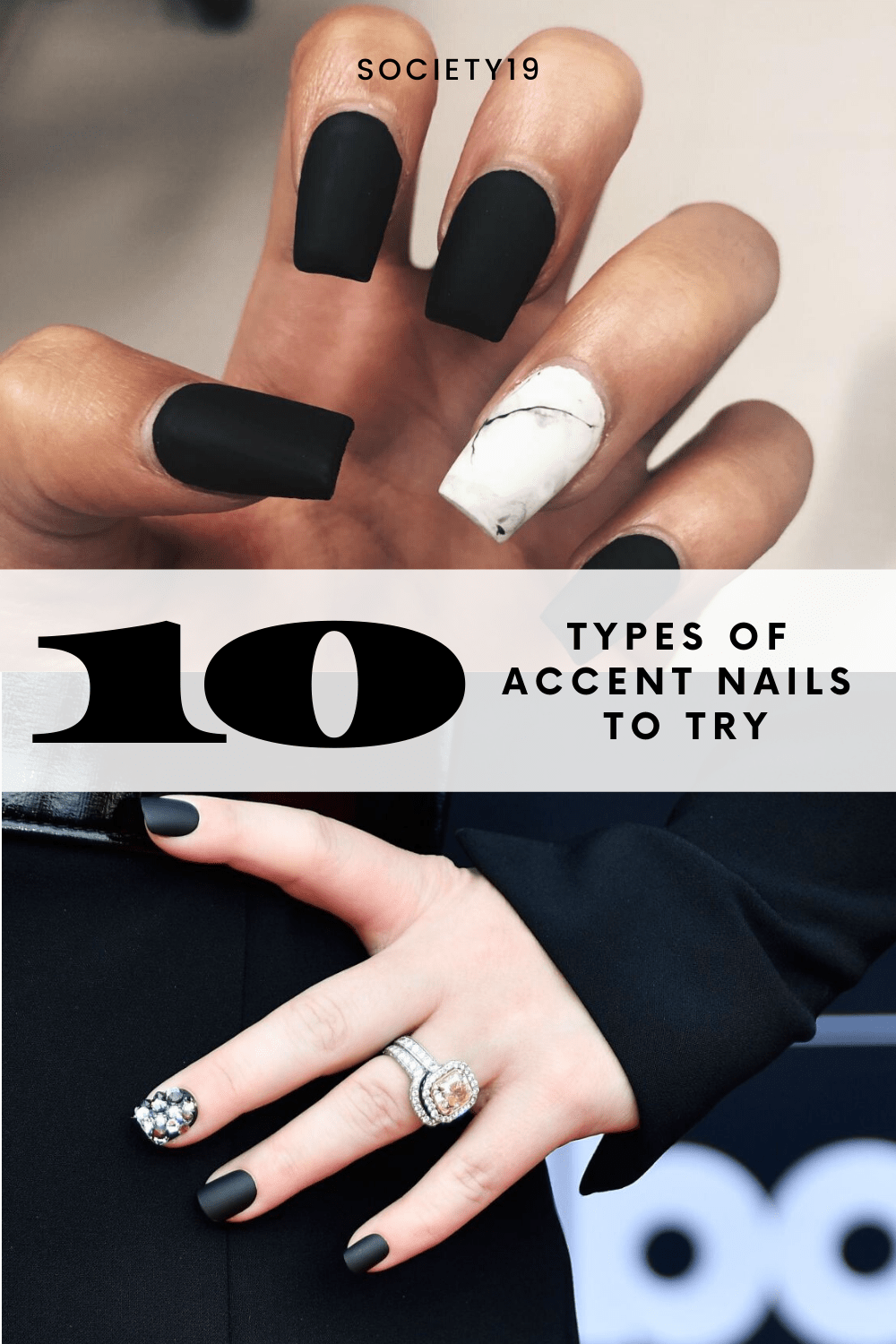 Add a little of your personality to your manicure. Any nail can be your desired accent nail, though most chose to do their ring finger.    #nailart #accentnails