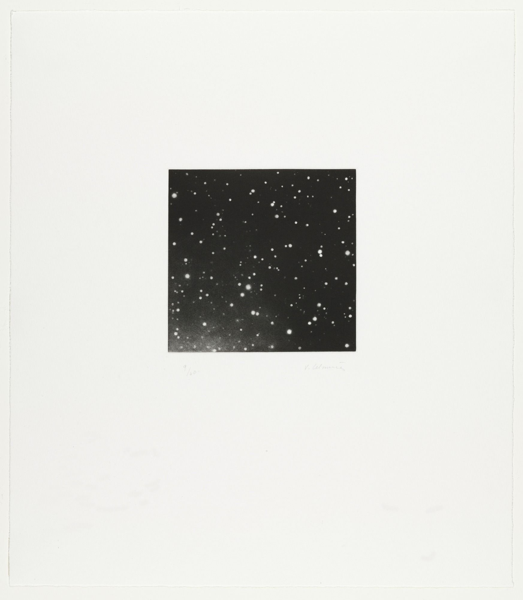 "Vija Celmins. Untitled (for Parkett no. 44). 1995. Mezzotint. plate: 5 x 5 3/16"" (12.7 x 13.1cm); sheet: 16 9/16 x 14"" (42 x 35.5cm). Riva Castleman Endowment Fund, Lily Auchincloss Fund, and Gift of Parkett. 50.1998.1. © 2017 Vija Celmins. Drawings and Prints"
